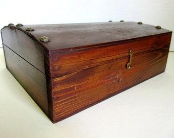"Wood Box Hinged Dome Lid Nailhead Vintage Storage 11"""
