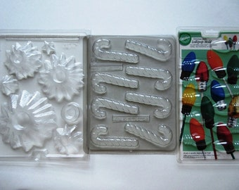 4 Christmas Chocolate Molds Stacking Tree Candy Cane Wilton Light Bulb Lollipop