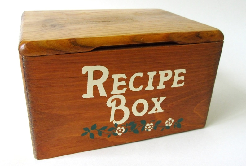 Large Wood Recipe Box Filled W Vintage Recipes Handwritten Clipped