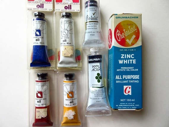 6 Oil Paint Tubes 1 Acrylic New Vintage Grumbacher Etsy