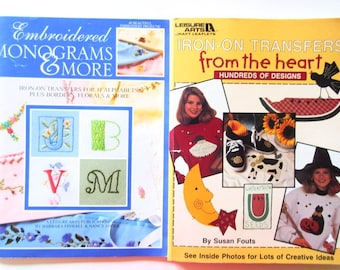 Iron On Transfer Book Embroidered Monograms & More From the Heart Leisure Arts