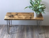 ROSE- Modern Rustic Industrial reclaimed scaffold wood console side table with hairpin legs
