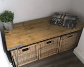 DELL- Modern Rustic Industrial Scaffold board Bench Coffee Table Side table with steel hairpin legs. Handmade.