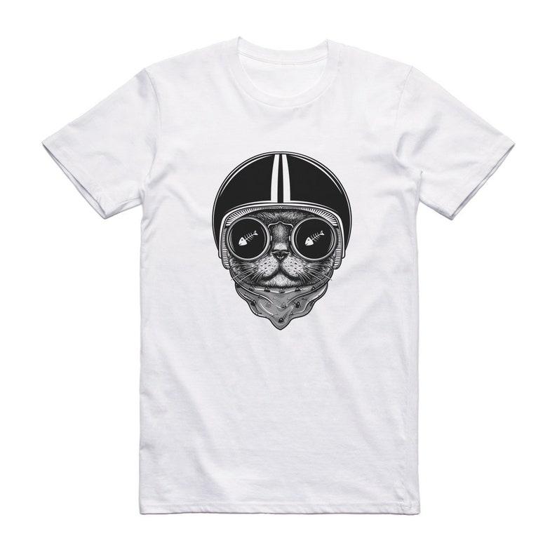 d060ed22949c03 Biker Cat Bold Unisex White T Shirt Mens Womens Grunge