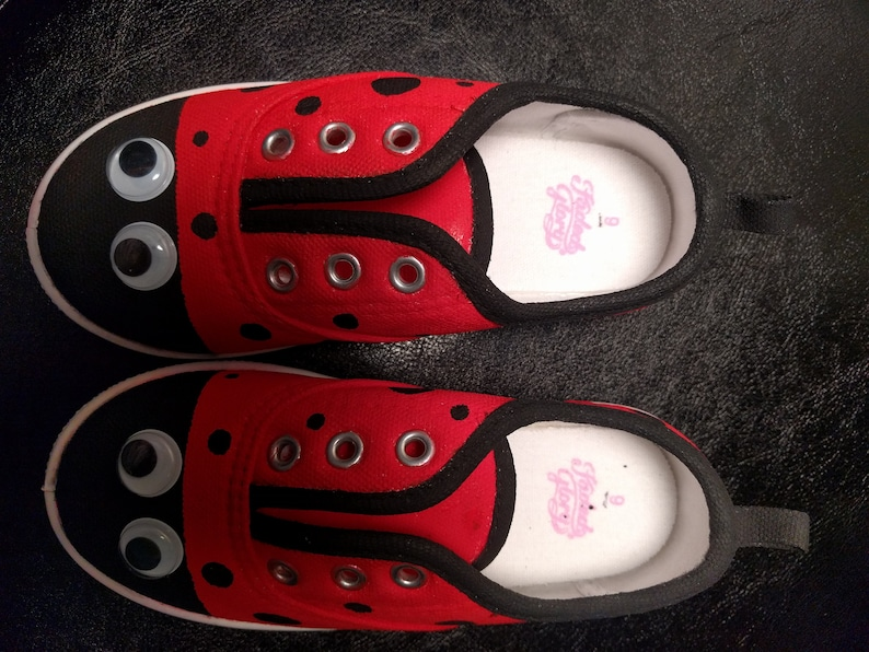 3708f871554a0 Ladybug Handpainted Canvas Shoes- girls