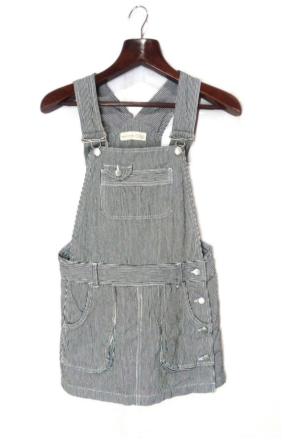 Vintage Hickory Stripe Overall Shorts Distressed B