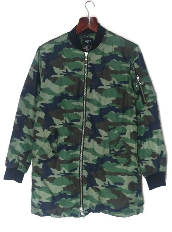 Avant Garde Forever 21 Camo Long Puffer Jacket