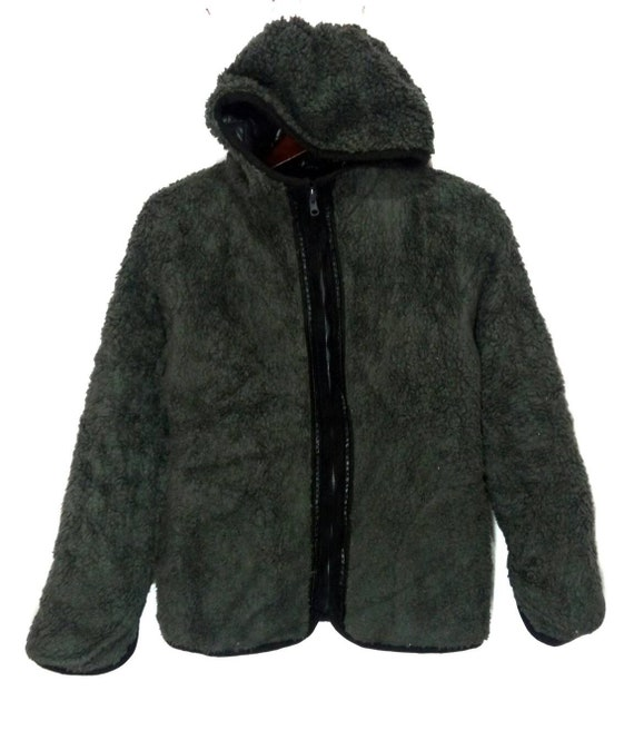 Japanese brand reversible fur puffer jacket black color for winter season size SM