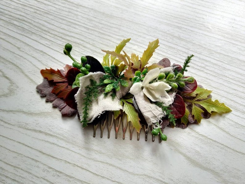 Rustic Fern Boho Bride headdress Lush Neetle Forest Purple Autumn headpiece White Linen Bridal Bow Fall Woodland Fairy Floral Comb