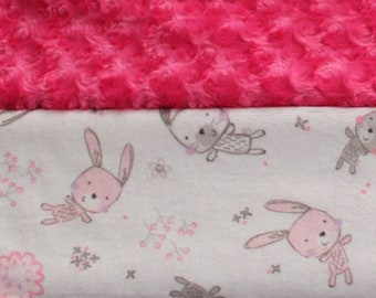 Minky Baby Blanket - Pink - Bunnies - Baby Girl Gift - Baby Shower Gift - Stroller Cover - Warm - Lightweight - Soft and Cuddly - Minky