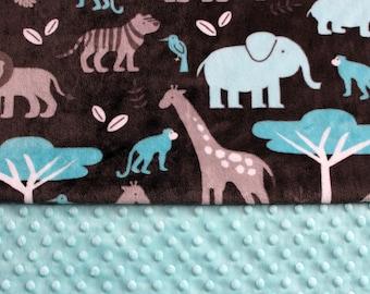 Minky Baby Blanket - Jungle Theme - Elephants, Giraffes, Hippos - Topaz - Swaddle - Shower Gift - Baby Gift - Gender Neutral - Soft - Cuddly