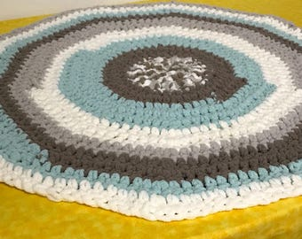 Tummy Time blanket in white gray and teal