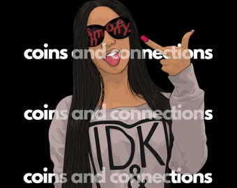 Cardi B Clipart OKKURR PNG DIGITAL Download for t-shirts/ planners/journals/mugs/stickers