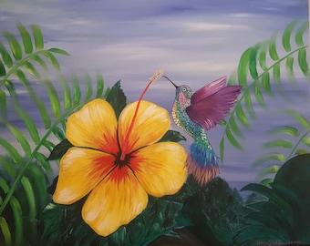 Yellow Hibiscus Hummingbird Tropical Painting