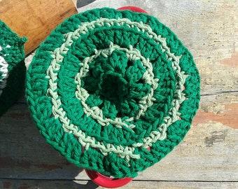 Light and dark green crocheted dishcloth 100% cotton