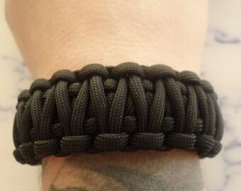 Paracord 550 survival bracelet black and blue