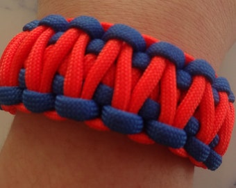 Paracord 550 survival bracelet blue and Orange