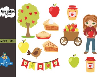 Apple Picking Clipart Fall Autumn Harvest Pie Apples Clip Art Tree Basket