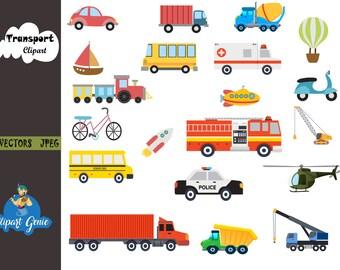 Transport Clipart Set, transportation Clipart, vehicles Clipart, Construction Clipart, Fire Truck Clipart, Truck Clipart, City vehicles