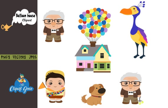 balloon house clipart up movie clipart balloon clipart etsy