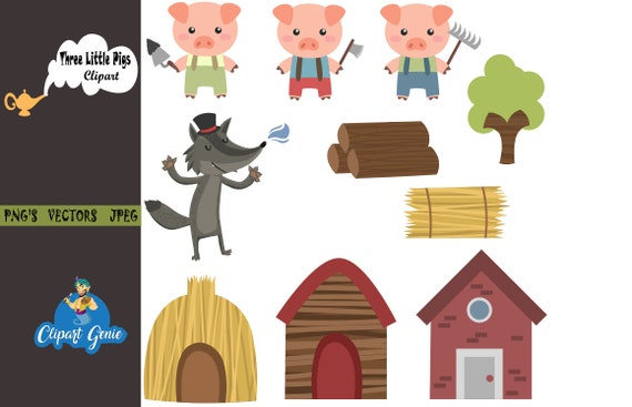 three little pigs clipart three little pigs clip art three etsy rh etsy com three little pigs clipart pictures three little pigs clip art black and white