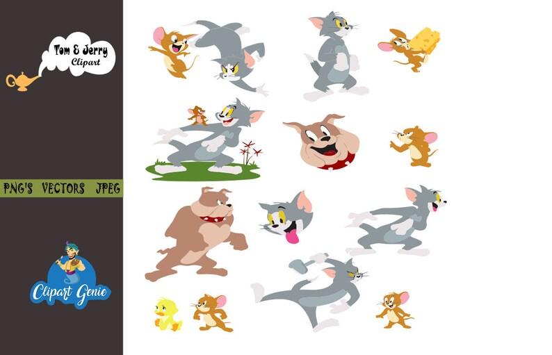 Tom Und Jerry Clipart Tom Jerry Clipart Bilder Von Tom Und Etsy