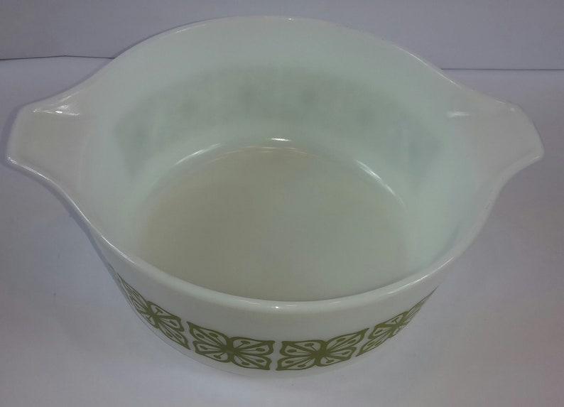 Vintage Green Pyrex Verde Square Flowers Casserole Dish Large Bowl wLid 2.5 Qt