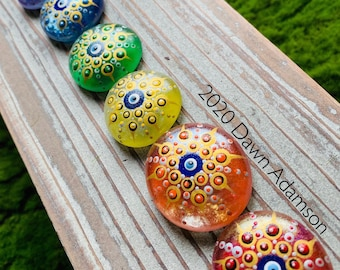 Hand Painted Glass Gem Set - 7 Chakras