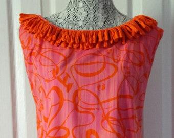 1960s Orange and Pink Fringed Summer Dress Large
