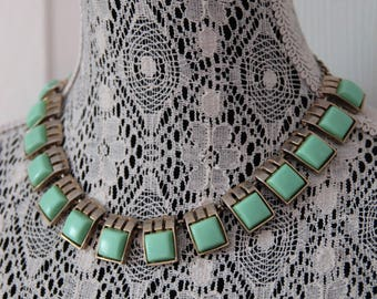 1960s Pastel Green Pendant Necklace