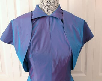 1940s or 1950s Stunning Purple and Blue Metallic Dress Small
