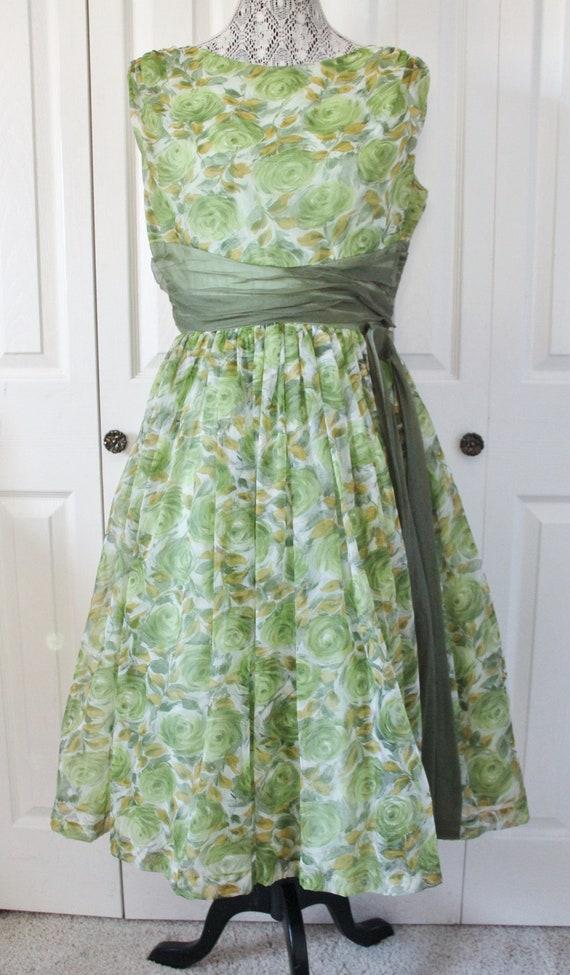 1950s Green and Yellow Chiffon Prom Dress Large