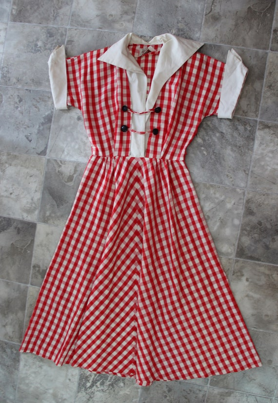 1940s Red and White Gingham Day Dress Small