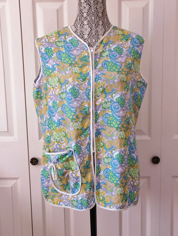 1960s Floral Patterned Women's Smock Shirt Extra L