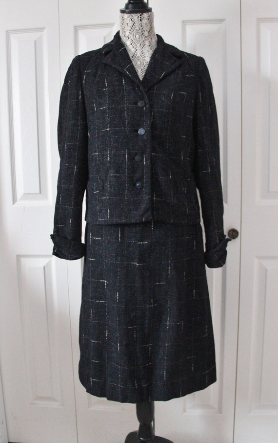 1940s Black Suit with White Specks and Shoulder Pa