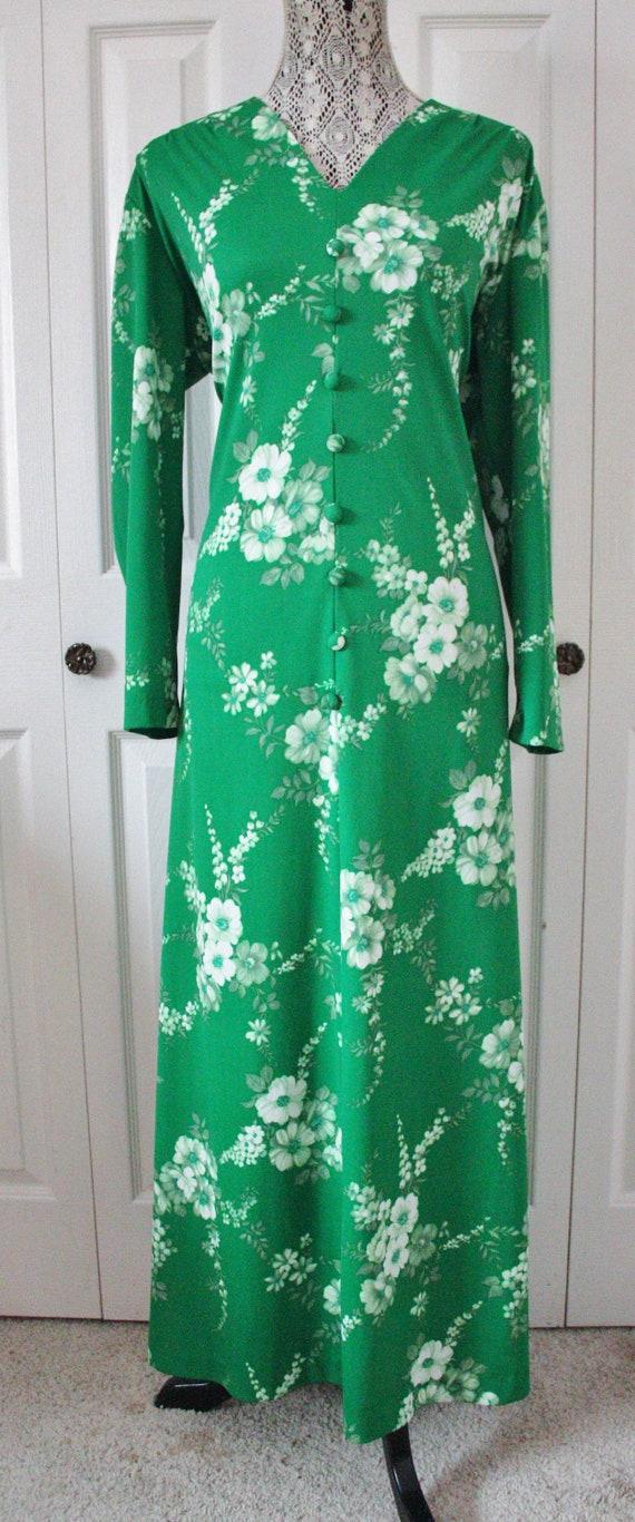 1960s Kelly Green Floral Maxi Dress XL to XXL