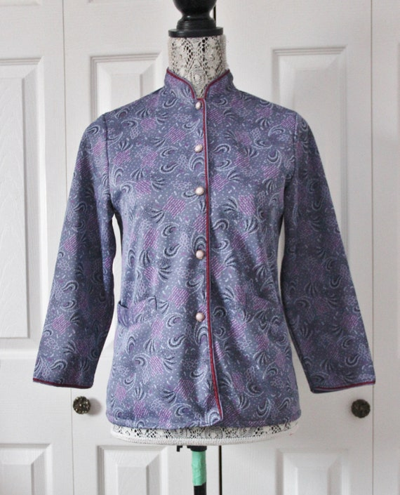 1960s Lilac and Blue Patterned Cardigan Medium