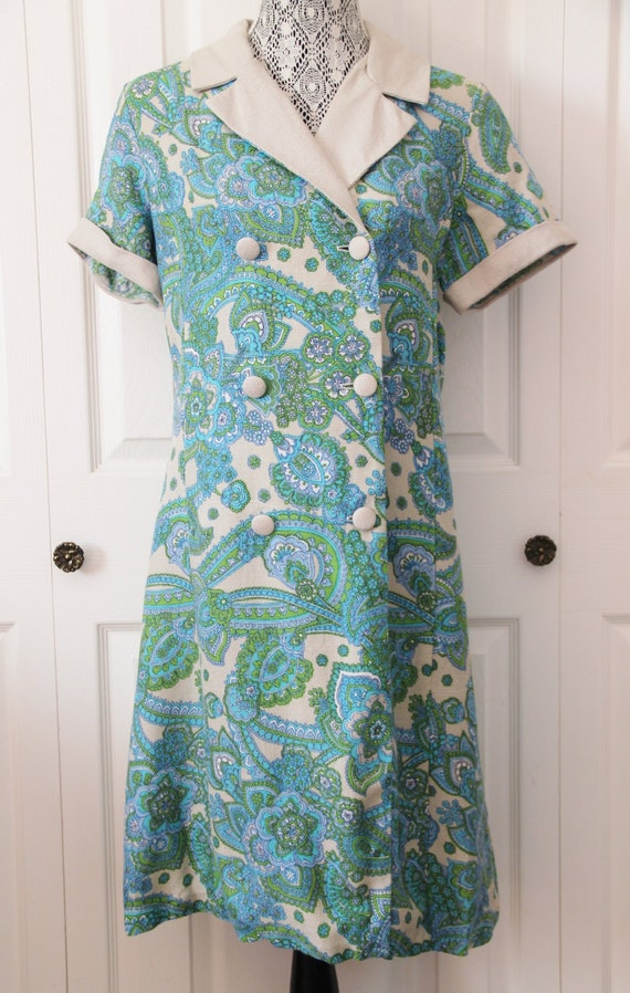 1960s Blue and Green House Dress Extra Large
