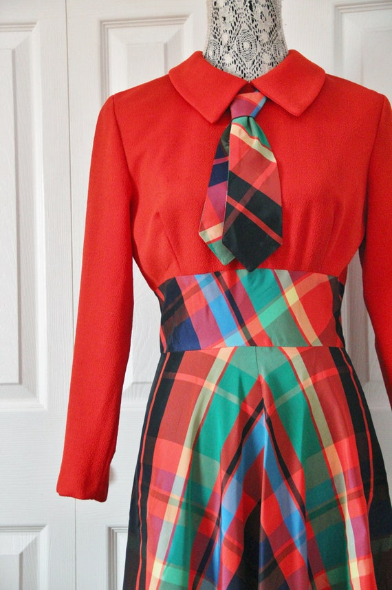 Late 1960s Date Mate Orange Red and Green Plaid S… - image 2