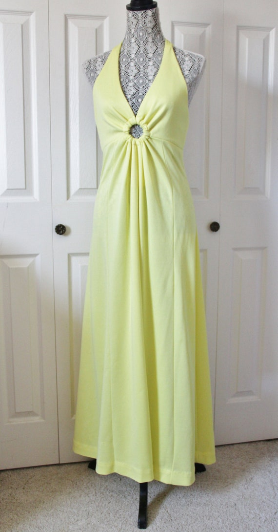 1960s Pale Yellow Halter Neck Maxi Dress Medium