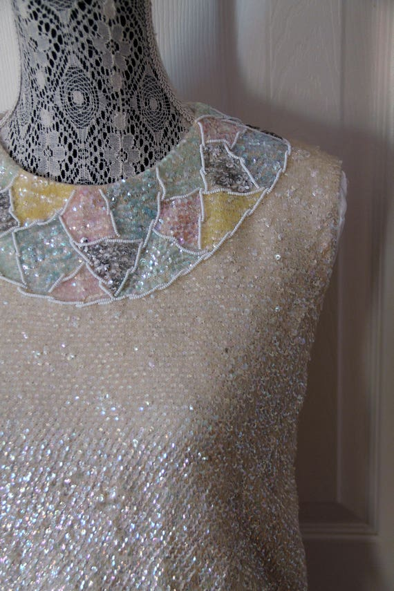 1960s Sequined Beaded Shell Top