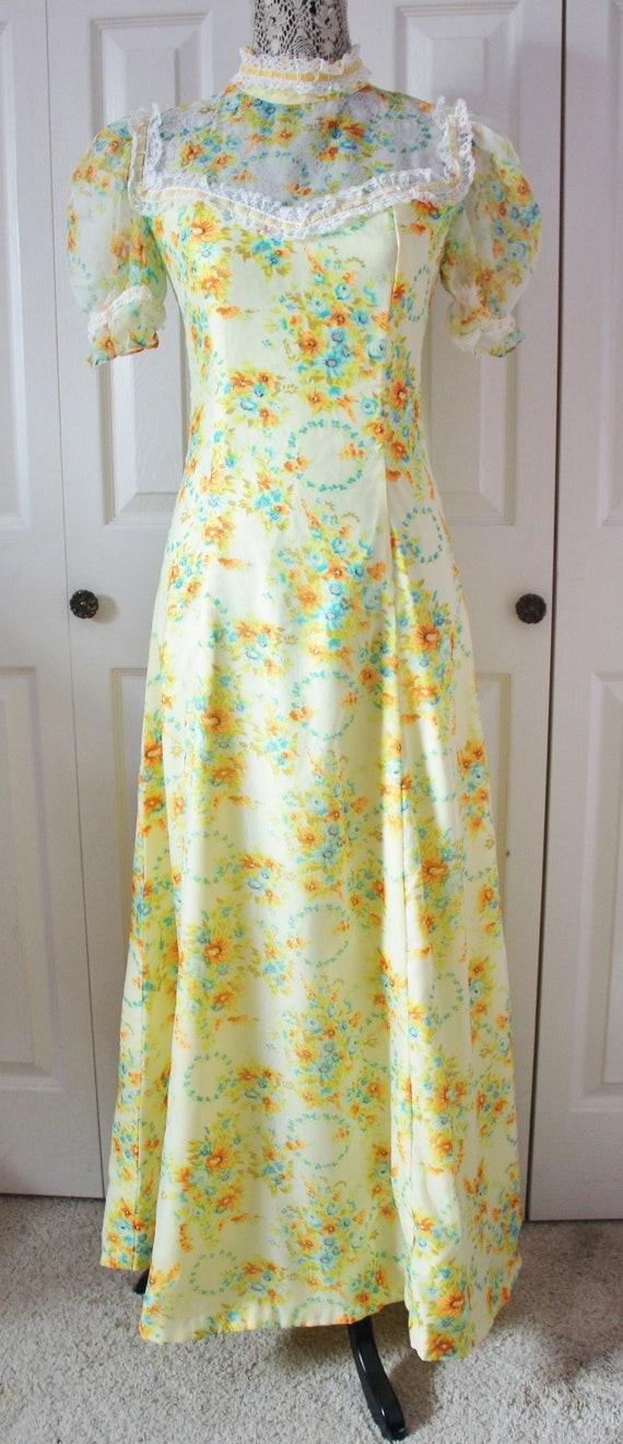 1960s Mod Yellow Floral Maxi Dress Medium