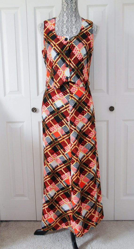 1960s Mod Skirt and Vest Set Small