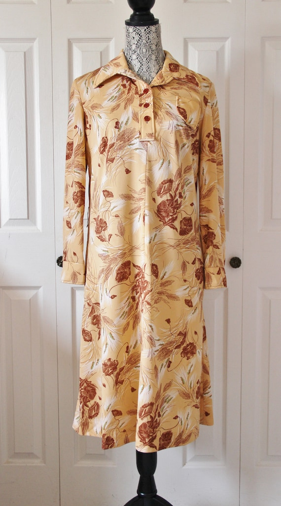 1970s Beige and Brown Fall Day Dress Extra Large