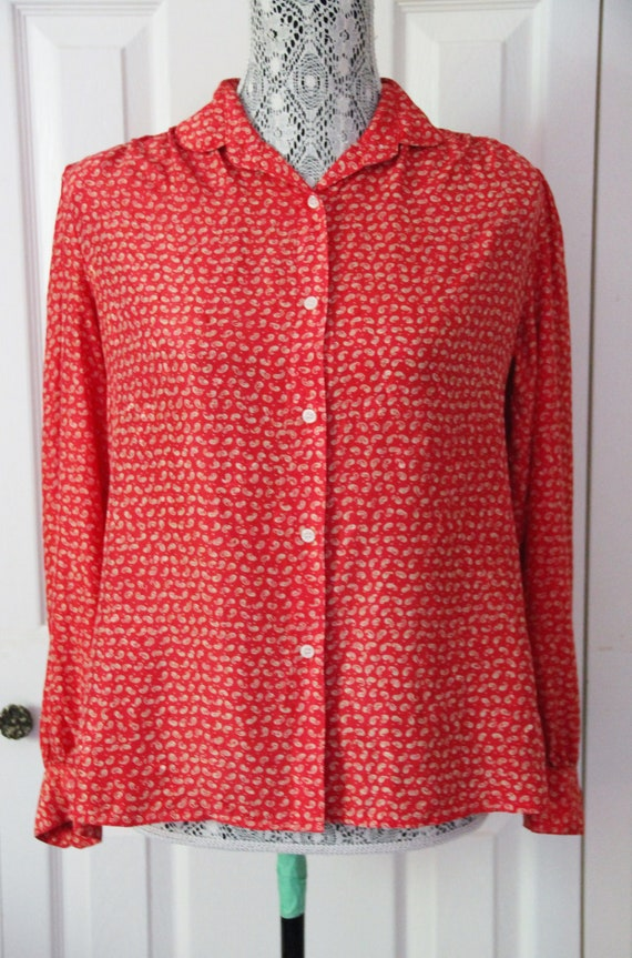 1980s Red Patterned Silk Blouse Large