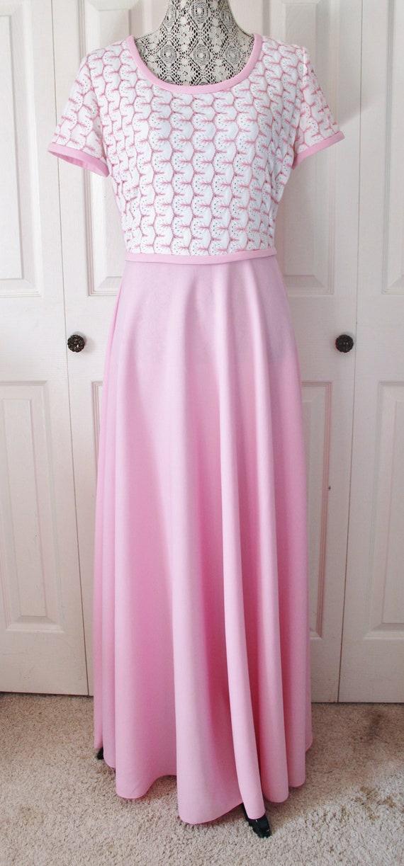 1960s Kay Stone Light Pink Maxi Dress Large to XL
