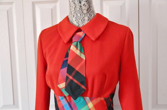 Late 1960s Date Mate Orange Red and Green Plaid S… - image 4