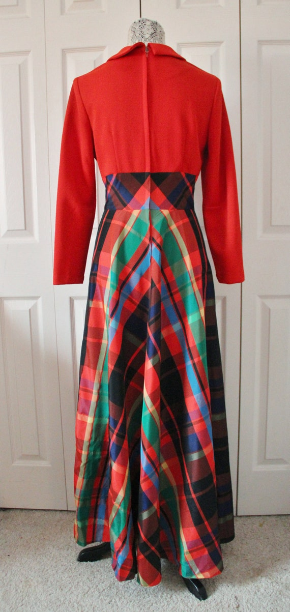 Late 1960s Date Mate Orange Red and Green Plaid S… - image 6