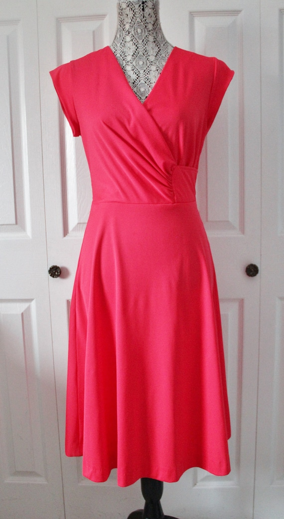 1970s Sandi Gale Hot Pink Day Dress Large