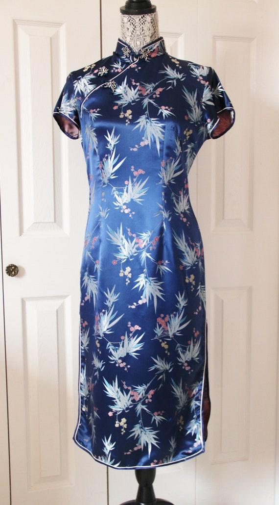 1950s Blue Silk Oriental Inspired Dress Medium